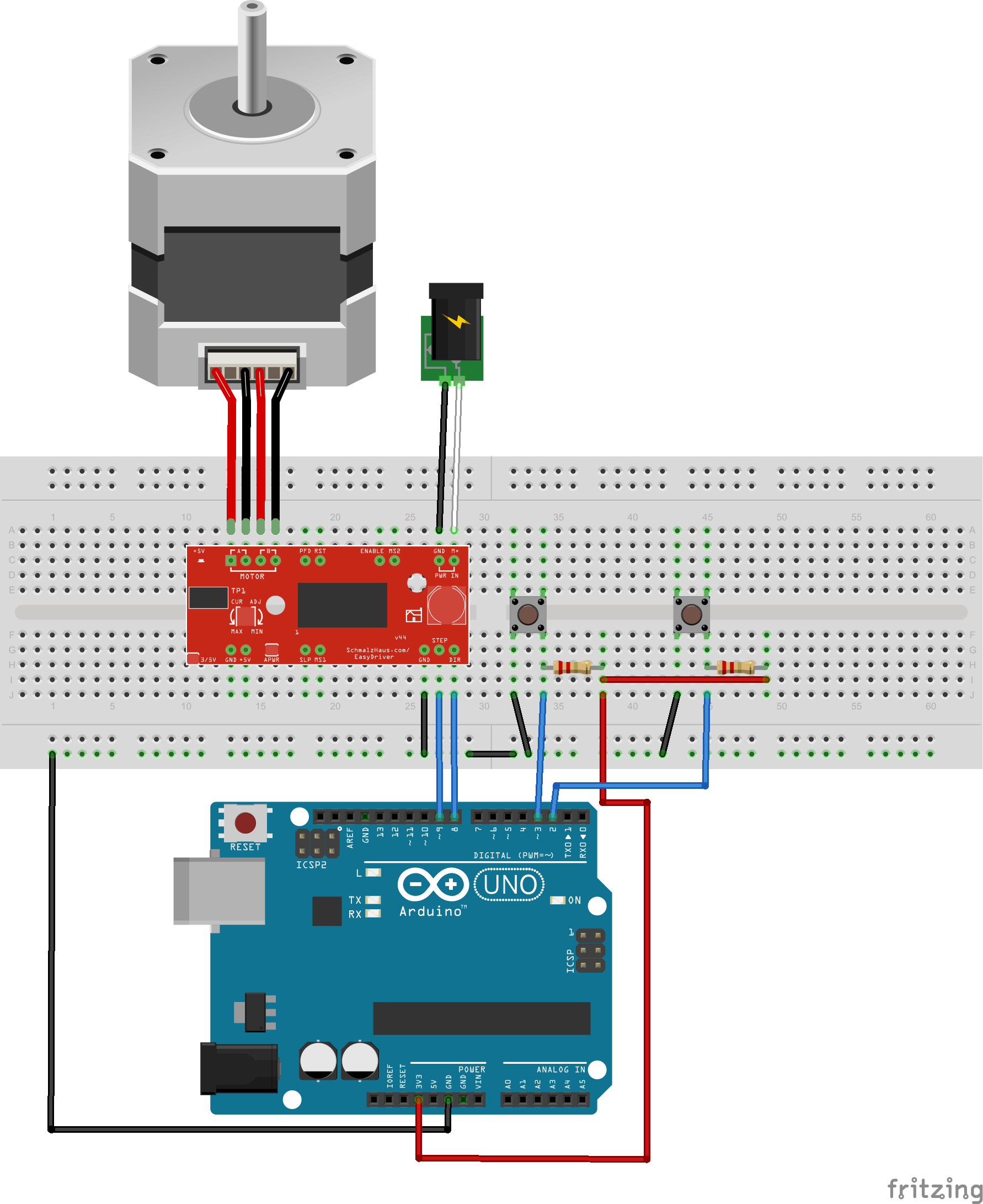 Arduino easyriver code problel for Dc stepper motor working